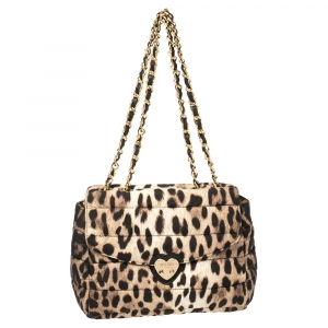 Moschino Brown Leopard Print Satin Flap Shoulder Bag