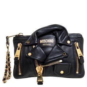 Moschino Black Leather Jacket Wristlet Clutch