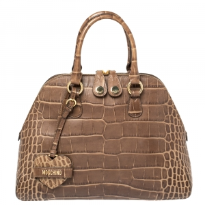 Moschino Brown Croc Embossed Leather Satchel