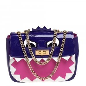 Moschino Multicolor Patent Leather Bird Face Flap Shoulder Bag
