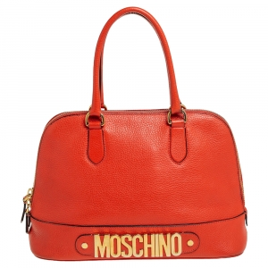 Moschino Orange Logo Plaque Leather Dome Satchel