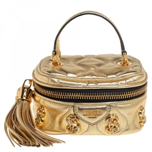 Moschino Gold Quilted Leather Mini Dollaro Top Handle Bag