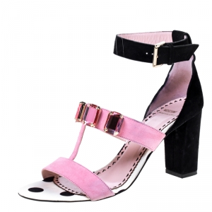 Moschino Black/ Pink Suede Crystal Embellished Ankle Strap Sandals Size 38