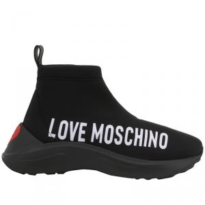 Love Moschino Black Fabric High Top Sneakers Size 40