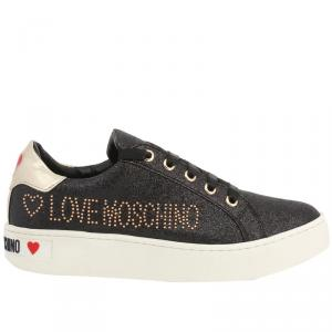 Love Moschino Black Glitter Fabric Lace Up Sneakers Size 40