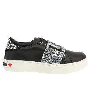 Love Moschino Black Glitter Faux Leather Platform Sneakers Size 40
