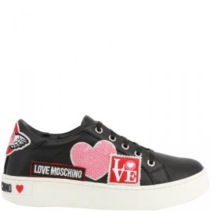 Love Moschino Black Faux Leather Lace Up Sneakers Size 38
