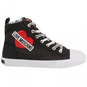 Love Moschino Black Glitter Faux Leather High Top Sneakers Size 38
