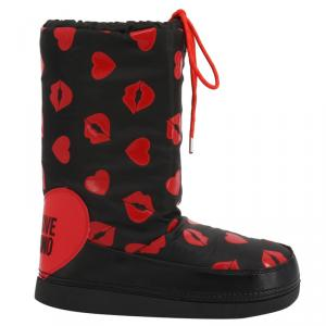 Love Moschino Black Heart Print Fabric Boots Size 37
