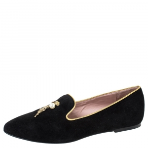 Moschino CheapAndChic Black Suede Gun And Pearl Embellished Ballet Flats Size 38 - used