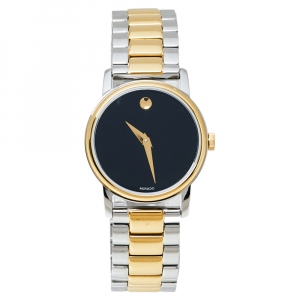 Movado Black Two Tone Stainless Steel 2100018 Classic Museum Quartz Women's Wristwatch 28MM