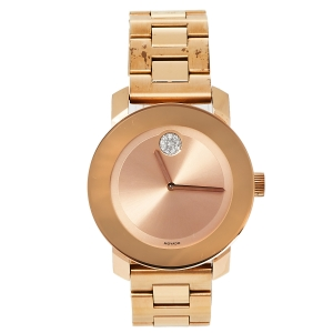 Movado Rose Gold Ionic Plated Stainless Steel Bold Quartz Women's Wristwatch 36 MM