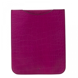 Mulberry Purple Croc Embossed Leather iPad Sleeve Case