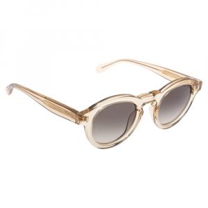 Mulberry Light Brown Transparent Gradient Round Sunglasses