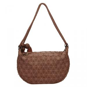 Mulberry Brown Textured Leather Tassel Hobo