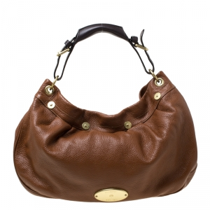 Mulberry Brown Pebbled Leather Mitzy Hobo