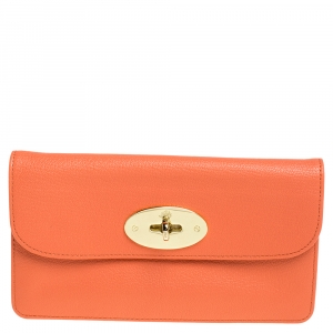 Mulberry Coral Orange Leather Postman Lock Flap Clutch