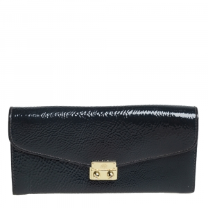 Mulberry Anthracite Patent Leather Flap Continental Wallet