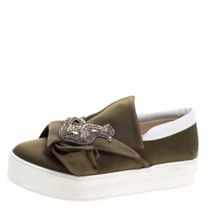 N21 Olive Green Satin Crystal Embellished Bow Slip on Sneakers Size 39