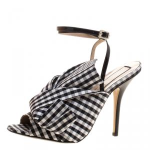 N°21 Monochrome Checkered Knotted Fabric Gingham Ankle Wrap Peep Toe Sandals Size 40