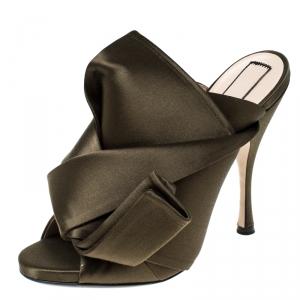N21 Olive Green Satin Raso Knot Peep Toe Mules Size 38.5