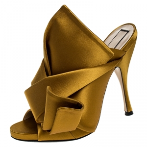 N°21 Mustard Yellow Satin Ronny Pleated Mules Size 39