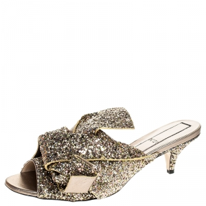 N21 Gold Coarse Glitter Bow Open Toe Sandals Size 40.5 -