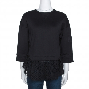 N21 Black Cotton Terry Eyelet Lace Trim Top S - used