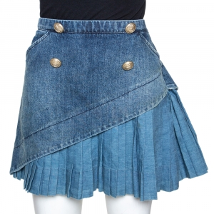 N21 Indigo Denim Asymmetric Pleated Mini Skirt M