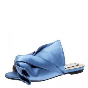 N21 Blue Satin Knot Mules Slide Size 37