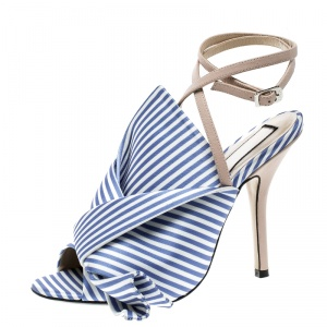 N 21 Blue/White Stripe Knotted Satin Gingham Ankle Wrap Peep Toe Sandals 37