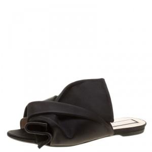 N21 Black Satin Knot Flat Mules Size 40