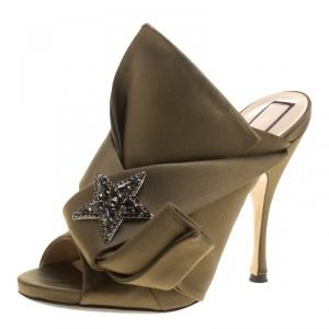 N 21 Khakee Satin Crystal Star Embellished Peep Toe Mules Size 38