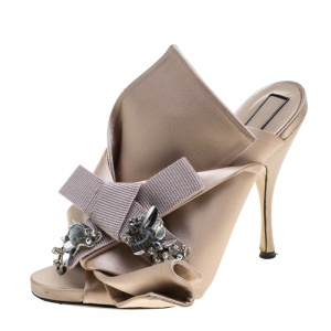 N°21 Blush Pink Satin Ronny Pleated Crystal Embellished Mules Size 41