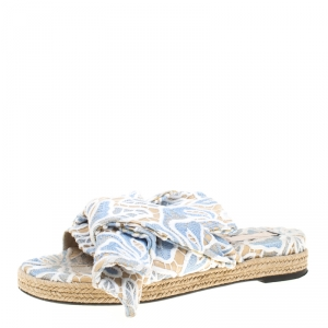 N21 Beige Leather And Blue/White Lace Knot Espadrille Flat Slides Size 39