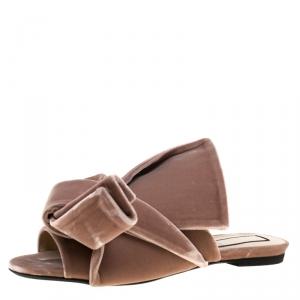 N21 Pale Pink Velvet Raso Knot Flat Slides Size 38.5