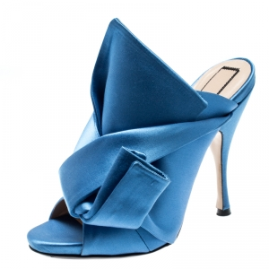 N°21 Blue Satin Ronny Pleated Mules Size 37