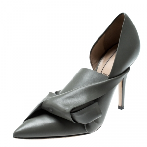 N°21 Grey Leather Tundra Knotted Pointed Toe D'orsay Pumps Size 36