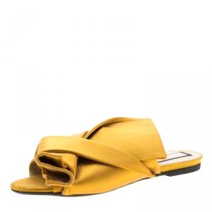 N21 Yellow Satin Knot Flat Mules Size 38