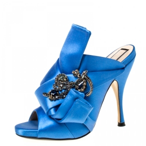 N°21 Blue Embellished Satin Knot Mules Sandals Size 36