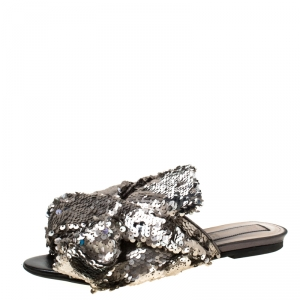 N21 Silver Sequins Knotted Flat Slides Size 38