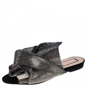 N°21 Metallic Grey Leather Crystal Embellished Bow Flat Mules Size 36