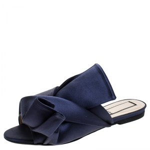 N21 Blue Satin Knot Flat Mules Size 37 - used