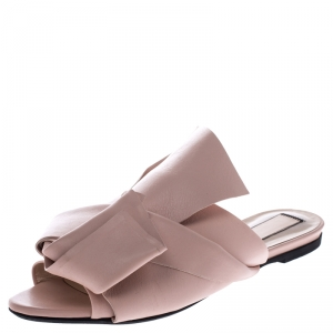 N21 Beige Leather Knot Flat Mules Size 39
