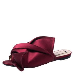 N21 Burgundy Satin Knot Mules Slide Size 39