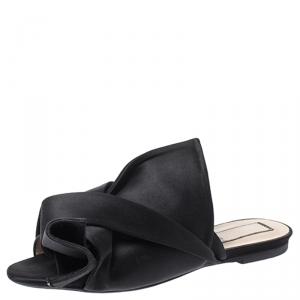 N21 Black Satin Knot Flat Slip On Mules Size 38
