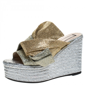 N21 Silver/Gold Glitter Fabric Raso Knot Espadrille Platform Wedge Sandals Size 39 - used