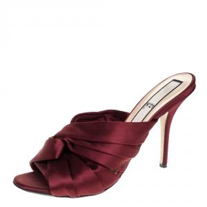 N21 Burgundy Satin Knot Open Toe Sandals Size 42