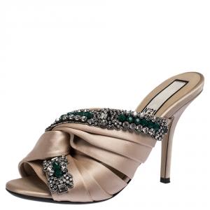 N21 Beige Satin Embellished Cipria Mule Sandals Size 36 - used