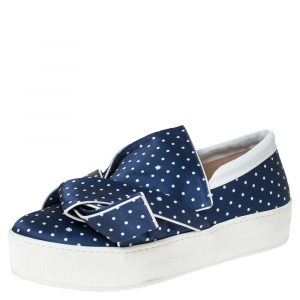 N21 Blue/White Polka Dot Satin Knot Slip On Sneakers Size 41